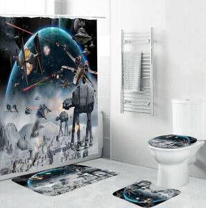 Larryco 4PCS//Set Shower Curtain,Toilet Lid Cover Sets with Non-Slip Rug Bath Mat Bathroom,Hooks,Polyester,Get Naked Fashionable Grey Background Funny Cute Simple 72x72 Inch
