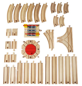 Wooden Train Track Expansion Set - Turntable, T point - Bigjigs, BRIO compatible