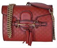Gucci Emily Micro GG Guccissima Mini Red Leather Cross body/Shoulder Bag - NEW