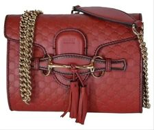 Gucci Emily Micro GG Guccissima Mini Red Leather Cross body/Shoulder Bag - NEW