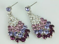 Teardrop amethyst purple gradient Crystal Rhinestone stud dangle Earrings T04