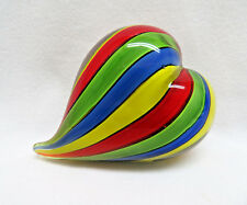 Multi-Color Ribbons Heart Shaped Art Glass Paperweight