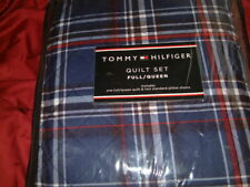 Tommy Hilfiger Hamilton Plaid Full Queen Quilted Coverlet Standard Shams 3Pc