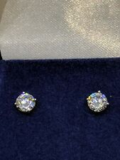 Sterling Silver Round CZ Stud Earrings with 925 Stamp in 4 Prong Mountings