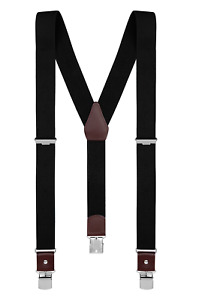 "Buyless Fashion Suspenders for Men 48"" Elastic Adjustable Straps 1 1/4"" Y Shape"