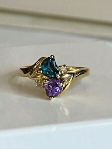 14k Yelllow Gold Ring Genuine London Blue Topaz , Amethyst & Diamond Hearts ring