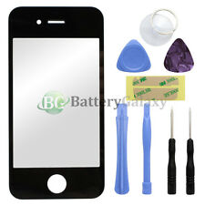 Black Front Screen Glass Lens Repair Replacement for Apple iPhone 4 4G + 8 Tools