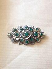 Pretty Vintage 1950s Green Rhinestone Flower Brooch