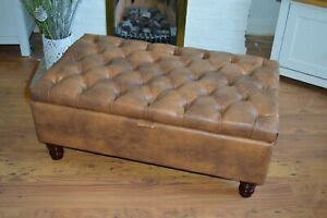 Chesterfield  Footstool Ottoman  with Storage in Premium Tan Faux Leather