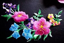 embroidered iron on applique large flower 4 3/4 X 4 3/4 inch