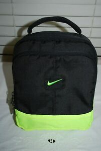 Nike Black and Neon Green Swoosh Logo Insulated Zip Lunchbox ~ EUC