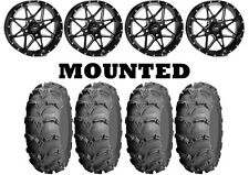 Kit 4 ITP Mud Lite XL Tires 28x10-14 on ITP Tornado Matte Black Wheels IRS