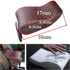 Black/Red Grid Car Central Console Armrest Box Soft Heighten Cushion w/Pocket