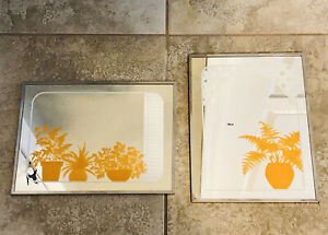 "Lot 2- Gloria Eriksen Potted Plants Wall Mirror Mid Century Modern 9x12"" Orange"