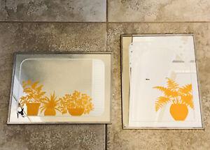 "Lot 2- Gloria Eriksen Potted Plants Wall Mirror Mid Century Modern 9x12"" Orange"
