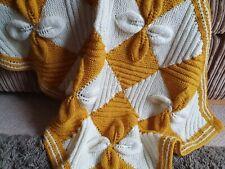 Stunning Hand Knitted Baby Blanket, Mustard & Cream, Cot, Pram, Buggy