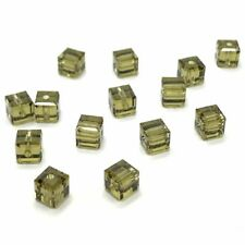 24 Swarovski 5601 Crystal Cube Beads 4mm Jewelry Making KHAKI *Clearance SALE*