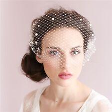 Elegant Bridal Veils Champagne Pearl Birdcage Wedding Veils White High Quality