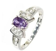 Ring Size 7.5 Amethyst & Topaz Bow Setting