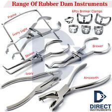 Dental Rubber Dam Instruments Kit Brinker Clamps Punch Forceps Frame Endodontics
