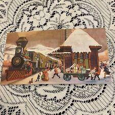 Vintage Greeting Card Christmas Train Railroad Station Hustle Bustle