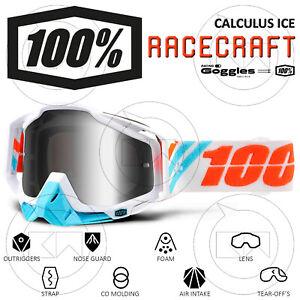 MASCHERA 100% RACECRAFT OCCHIALI MOTOCROSS CALCULUS ICE LENTE A SPECCHIO ARGENTO