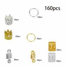 Beads Multiple Style for Hair Decor 160Pc Diy Braid Rings Dreadlocks Metal Cuffs