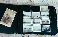 Vtg Dark Leather Photo Album /w B & W Pictures Animal Travel Photography 40's