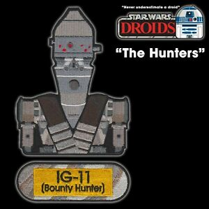 """Star Wars DROIDS """"The Hunters"""" IG-11 Bounty Hunter set of 3 embroidered patches"""