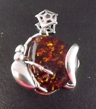 AMBER STERLING SILVER BRAND NEW PENDANT ANT SPIDER WEB 4.7 GRAMS