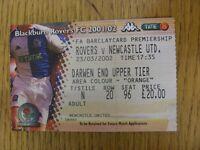 23/03/2002 Ticket: Blackburn Rovers v Newcastle United  (folded). Footy Progs/Bo
