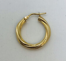 One lost my earring 9ct yellow gold 20mm creole earrings total weight 0.98 grams