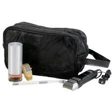 Black LEATHER TRAVEL BAG Personal Accessories Toiletries Cosmetic Makeup Shaving