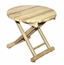 Bamboo 54 Round Bamboo Folding Side Table Low 5884  New