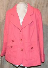 JOAN RIVERS EASY ELEGANCE SOFT KNIT BUTTON FRONT JACKET W/3 POCKETS PINK CUFF 2X