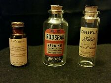New listing Vintage Style Fishing 2 Rod Varnish, 1 Drifly Glass Bottles.Artist Handcrafted