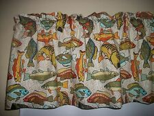 Fish Fishing Bass Trout Man Cave Salmon fabric curtain topper Valance