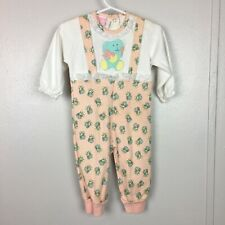 Vintage NWT Honors Baby Novelty Print Bunny Knit Romper Overall Look 3/6 90s