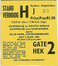 South Africa v Australia - 1st Test 5 Aug 1961 Johannesburg RUGBY TICKET