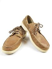 Mens CHAPS Leather Brown Dock BOAT SHOES SIZE 7.5 Loafers Slip On FREE SHIP!