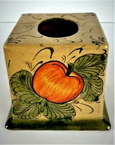 Handpainted  Ceramic Mexican Tissue Box Holder