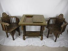 """28"""" Syrian Mosaic HandMade Games Table chess& backgammon& poker set and 2 chairs"""