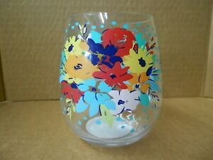 PIONEER WOMAN Stemless Acrylic Wine Glass FLORAL Tumbler 17.5 oz