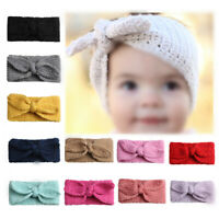 Baby Toddler Girls Headband Crochet Knitted Bow Turban Hair Kids Hair Band Decor