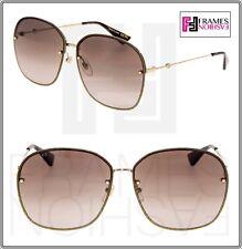 ef9c8ad5a22 GUCCI 0228 Oversized Metal Gold Glitter Brown Gradient Sunglasses GG0228S  Women