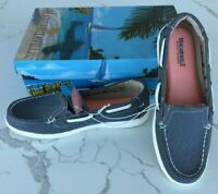 New women's Margaritaville Tahiti Navy Memory Foam Canvas Boat Shoes US Size10