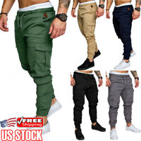 Men's Elasticated Waist Cargo Combat Trousers Sports Casual Pencil Jogger Pants
