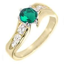 14K GOLD EP 1.85CT DIAMOND SIMULATED EMERALD RING  size 5 or J 1/2