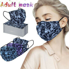 50PC Adult Fashion Lace Protection Three Layer Breathable Face Mask