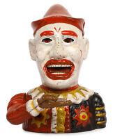 ANTIQUE / VINTAGE STYLE CAST IRON Humpty Dumpy Clown MECHANICAL BOX BANK